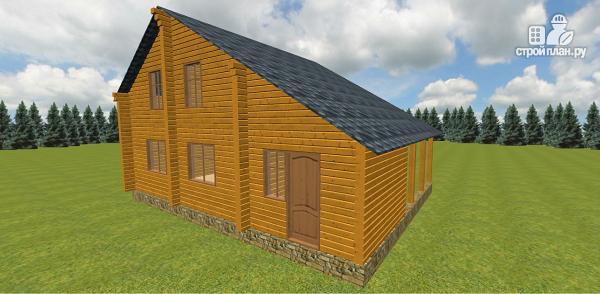 Фото 6: проект дом из бруса с навесом для гаража