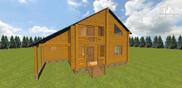Фото 3: проект дом из бруса с навесом для гаража