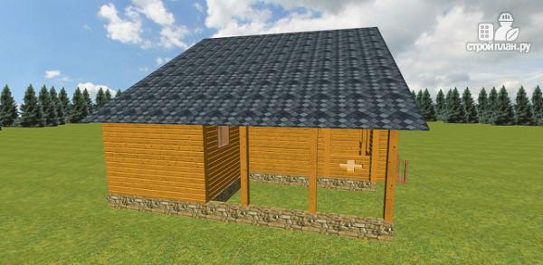 Фото 5: проект дом из бруса с навесом для гаража