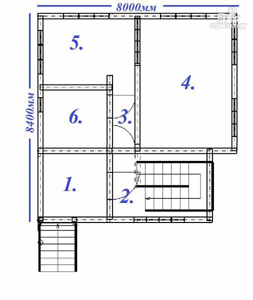 Фото 11: проект дом из бруса 8х8