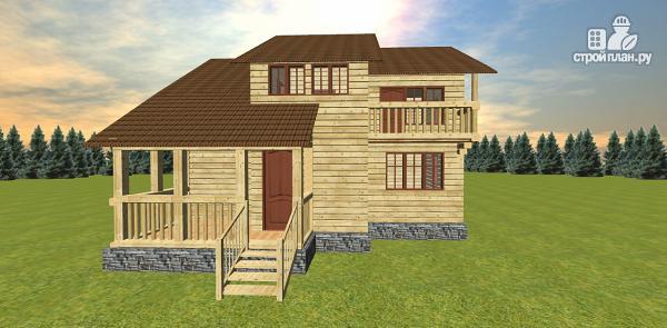 Фото 3: проект дом с большой открытой террасой и балконом