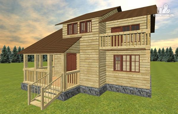 Фото 2: проект дом с большой открытой террасой и балконом
