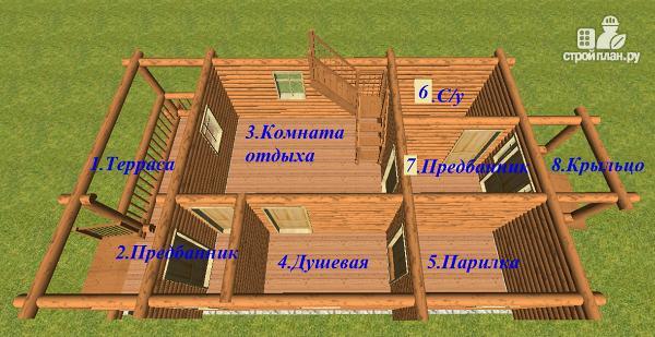Фото 7: проект дом-баня из бревна с бильярдной 6х10