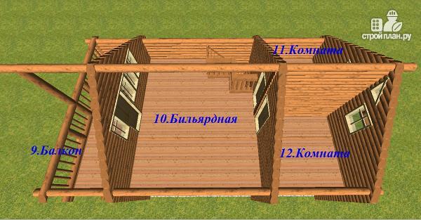 Фото 9: проект дом-баня из бревна с бильярдной 6х10