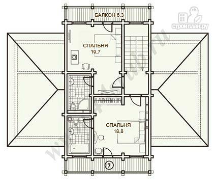 Фото 9: проект дом из бруса с балконами