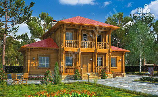 Фото: проект дом из бруса с балконами