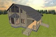 Проект дом из бруса, с эркерами