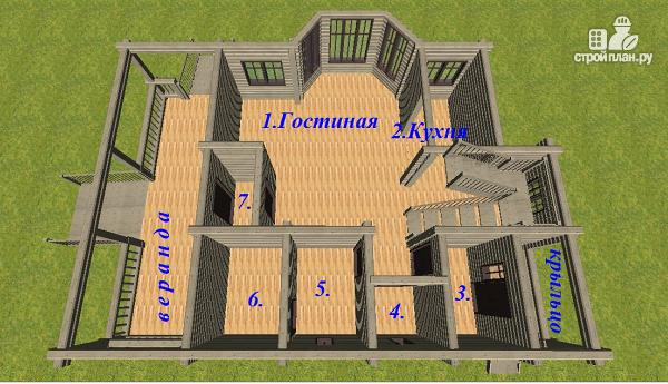 Фото 9: проект дом из бруса, с эркерами