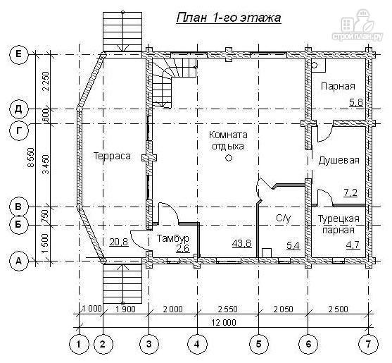 Фото 2: проект баня бревенчатая 12х8.5 с хамамом