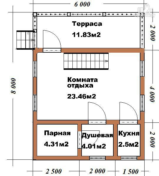 Фото 5: проект гостевой домик-баня 6х8 из бруса