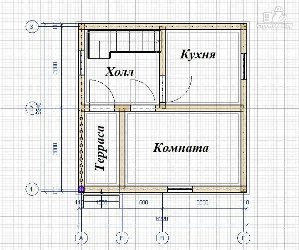 Фото 6: проект дом из бруса 6х6, г-образный
