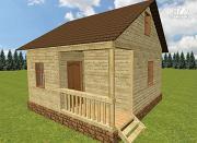 Фото: дом из бруса 6х6, г-образный