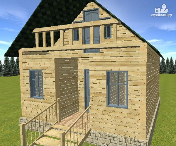 Фото 3: проект дом из бруса 6х6 с балконом