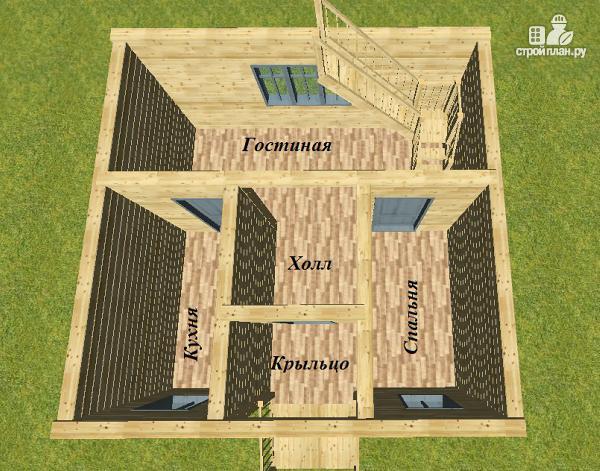 Фото 9: проект дом из бруса 6х6 с балконом