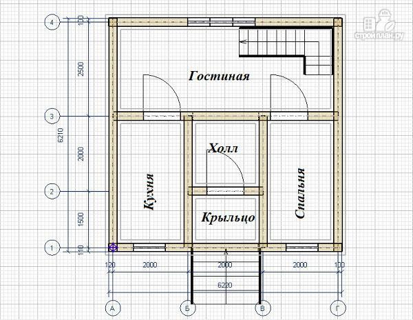 Фото 8: проект дом из бруса 6х6 с балконом