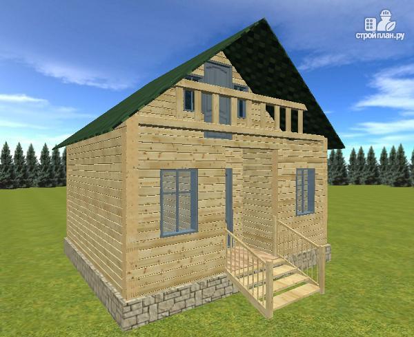 Фото: проект дом из бруса 6х6 с балконом