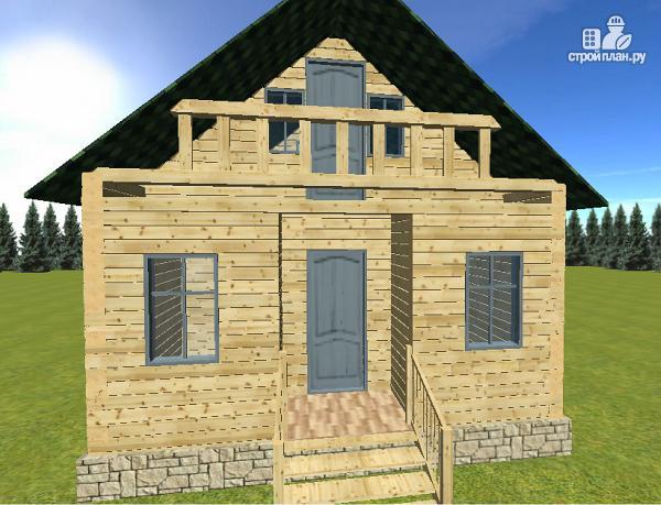 Фото 2: проект дом из бруса 6х6 с балконом