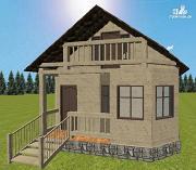 Проект дом из бруса 6х6 с террасой и балконом