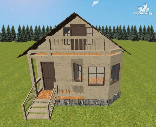 Фото 3: проект дом из бруса 6х6 с террасой и балконом