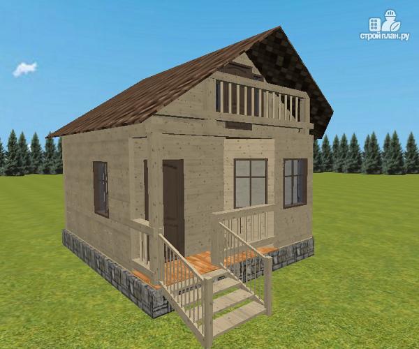 Фото 4: проект дом из бруса 6х6 с террасой и балконом