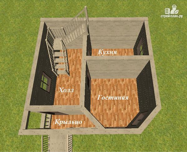 Фото 9: проект дом из бруса 6х6 с террасой и балконом
