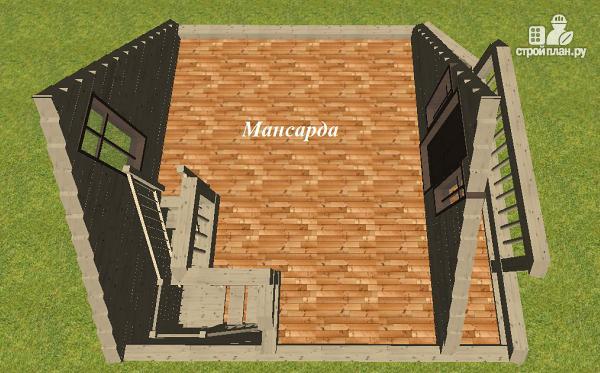 Фото 10: проект дом из бруса 6х6 с террасой и балконом