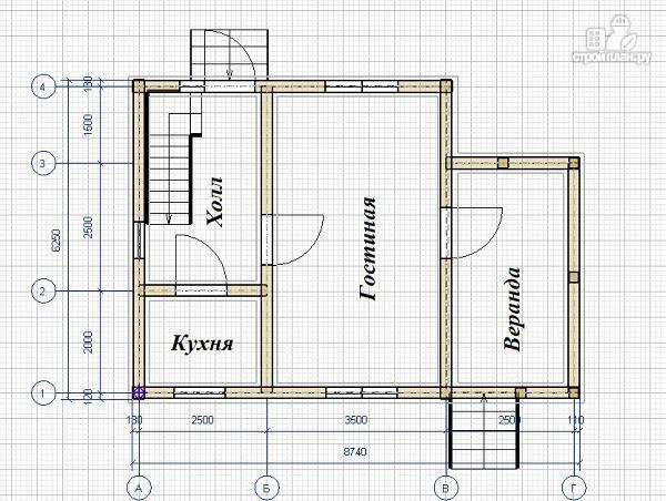 Фото 8: проект дом из бруса 6х6 с большой летней террасой