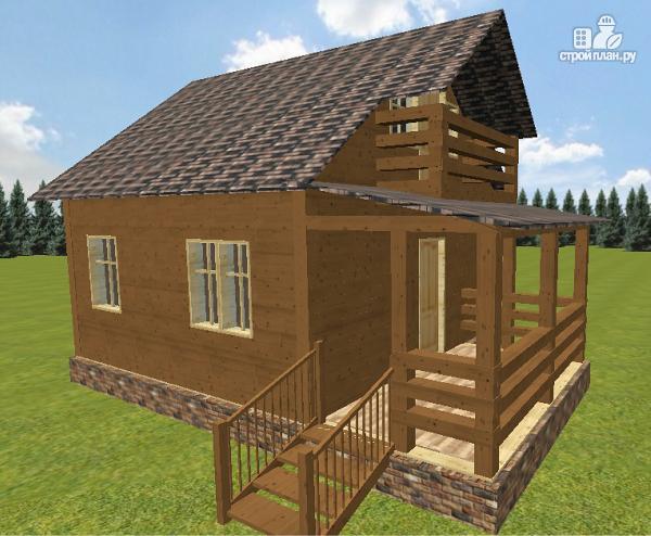 Фото 5: проект дом из бруса 6х6 с большой летней террасой