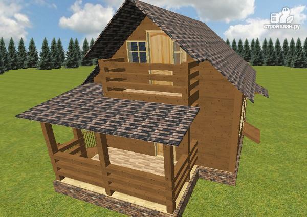 Фото: проект дом из бруса 6х6 с большой летней террасой