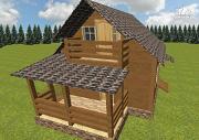 Проект дом из бруса 6х6 с большой летней террасой