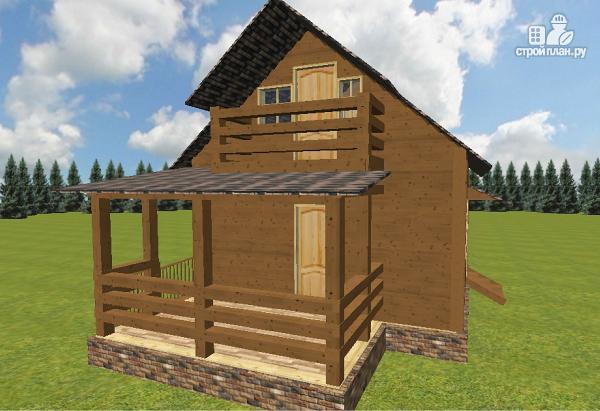 Фото 4: проект дом из бруса 6х6 с большой летней террасой