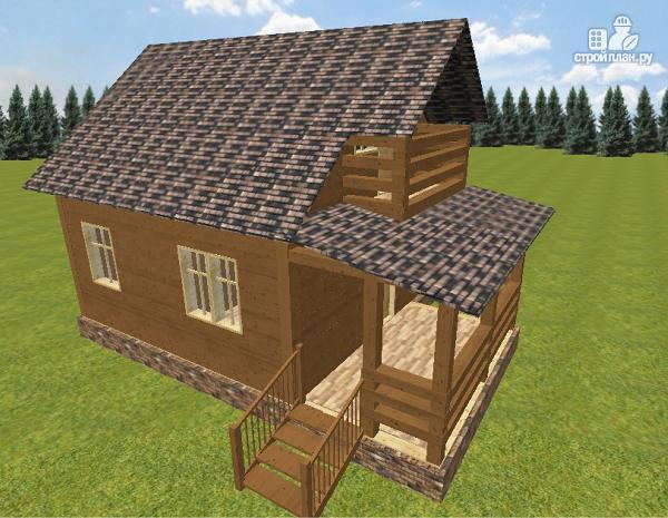 Фото 2: проект дом из бруса 6х6 с большой летней террасой