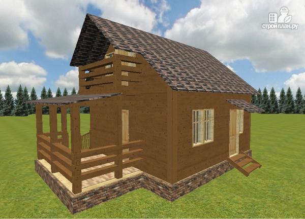 Фото 3: проект дом из бруса 6х6 с большой летней террасой