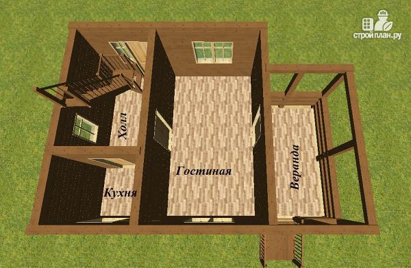 Фото 9: проект дом из бруса 6х6 с большой летней террасой