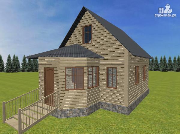 Фото: проект дом из бруса 6х6 с эркером