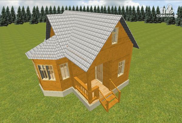 Фото 2: проект дом из бруса 6х6 с эркером в гостиной