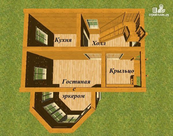 Фото 9: проект дом из бруса 6х6 с эркером в гостиной