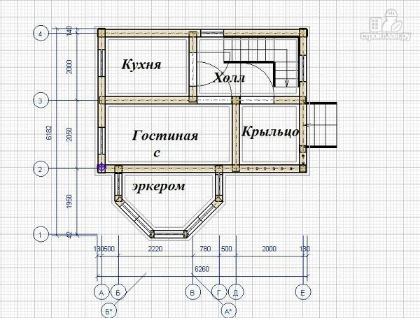 Фото 8: проект дом из бруса 6х6 с эркером в гостиной