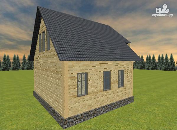 Фото 5: проект дом из бруса 6х7 с террасой и балконом