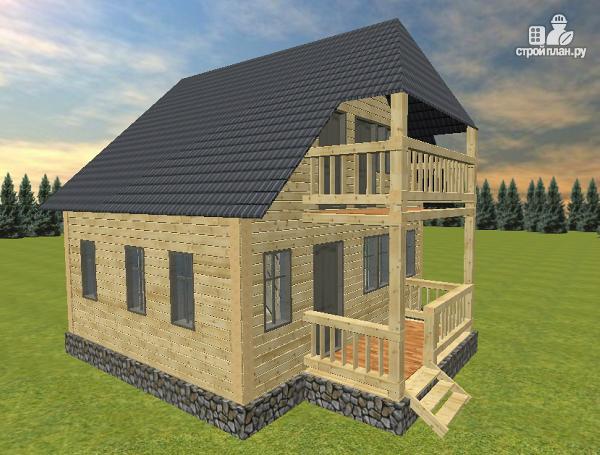 Фото 2: проект дом из бруса 6х7 с террасой и балконом