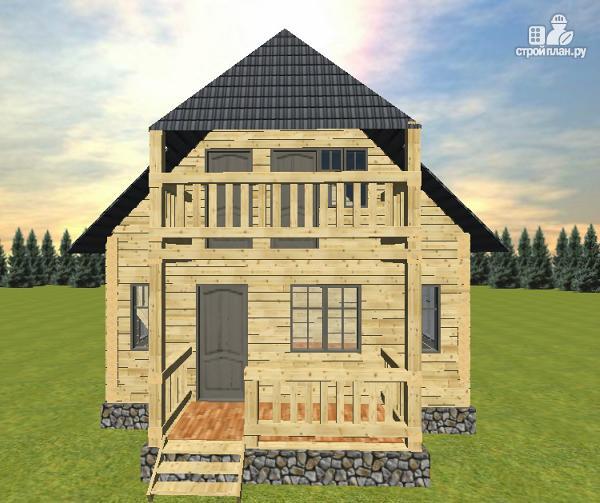 Фото 6: проект дом из бруса 6х7 с террасой и балконом