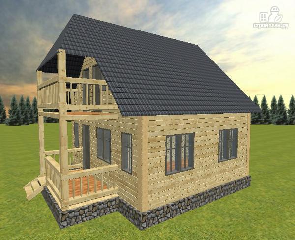 Фото 3: проект дом из бруса 6х7 с террасой и балконом