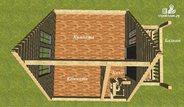 Фото 9: проект дом из бруса 6х7 с террасой и балконом