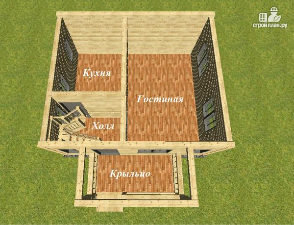 Фото 8: проект дом из бруса 6х7 с террасой и балконом