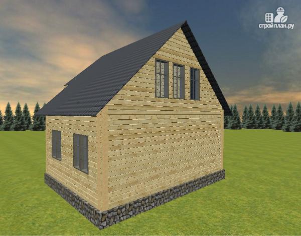 Фото 4: проект дом из бруса 6х7 с террасой и балконом