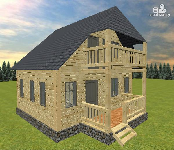 Фото: проект дом из бруса 6х7 с террасой и балконом