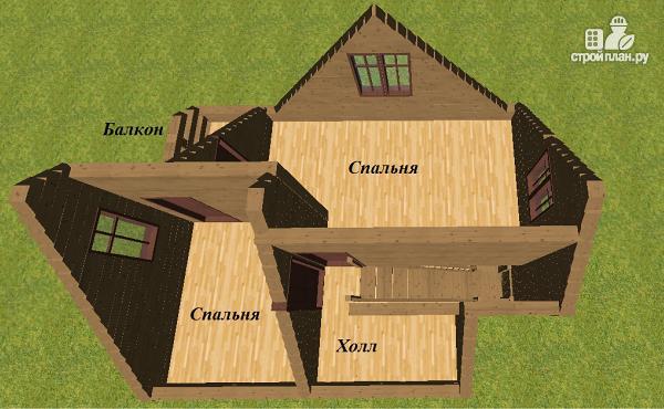 Фото 11: проект дом из бруса 6х7.5 с крыльцом и балконом