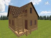 Фото: дом из бруса 6х7.5 с крыльцом и балконом