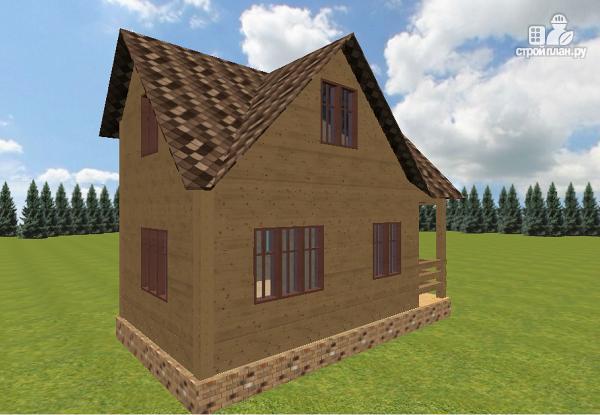 Фото 7: проект дом из бруса 6х7.5 с крыльцом и балконом