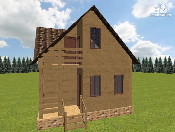 Фото 3: проект дом из бруса 6х7.5 с крыльцом и балконом